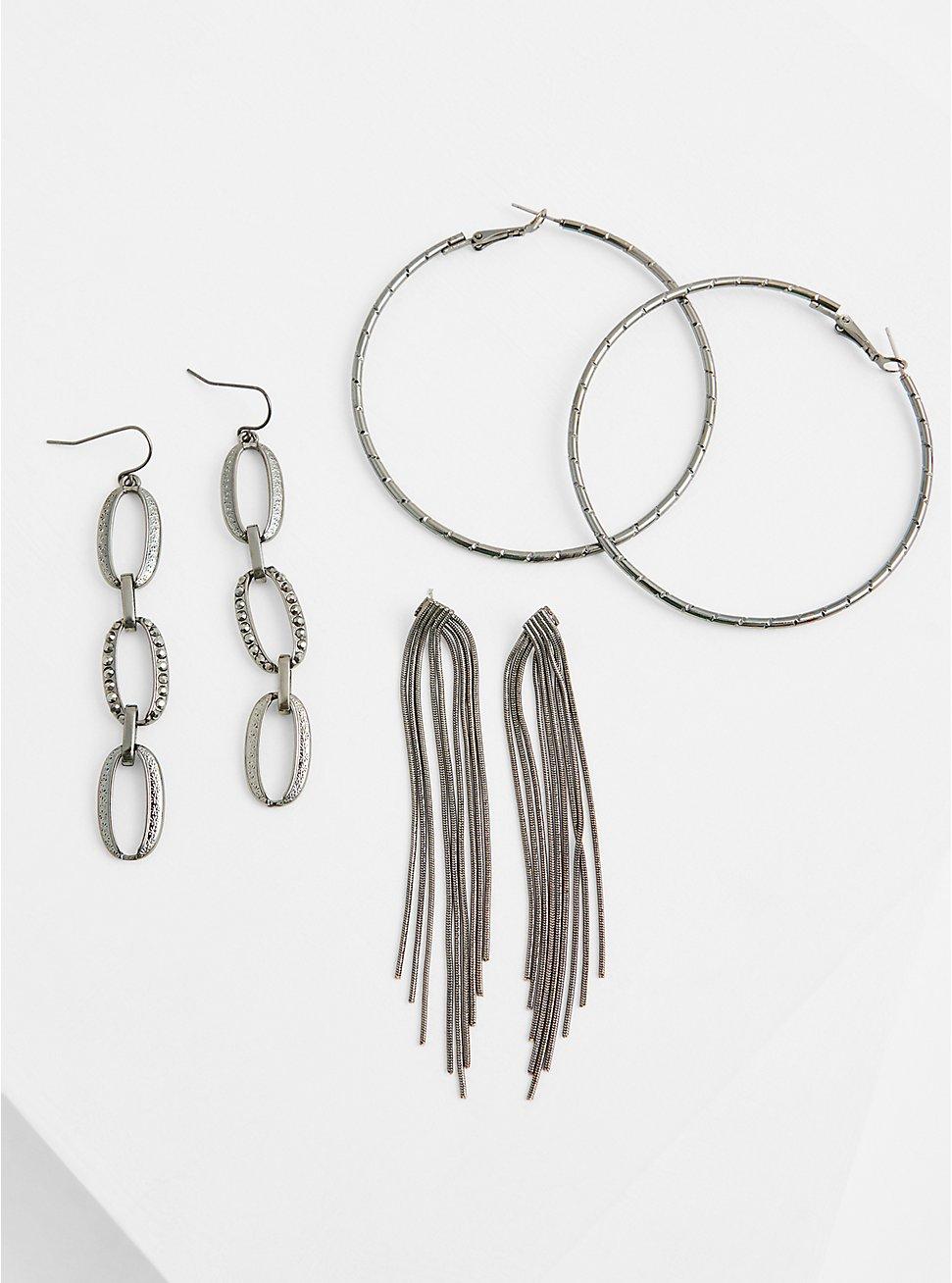 Burnished Silver-Tone Fringe Earrings Set - Set of 3, , hi-res