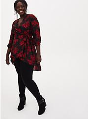 Black & Red Floral Georgette Wrap Tunic Blouse, FLORAL - BLACK, alternate