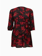 Black & Red Floral Georgette Wrap Tunic Blouse, FLORAL - BLACK, hi-res