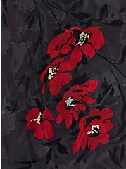 Dark Slate Grey Clip Floral Hi-Lo Wrap Blouse, FLORAL - GREY, alternate