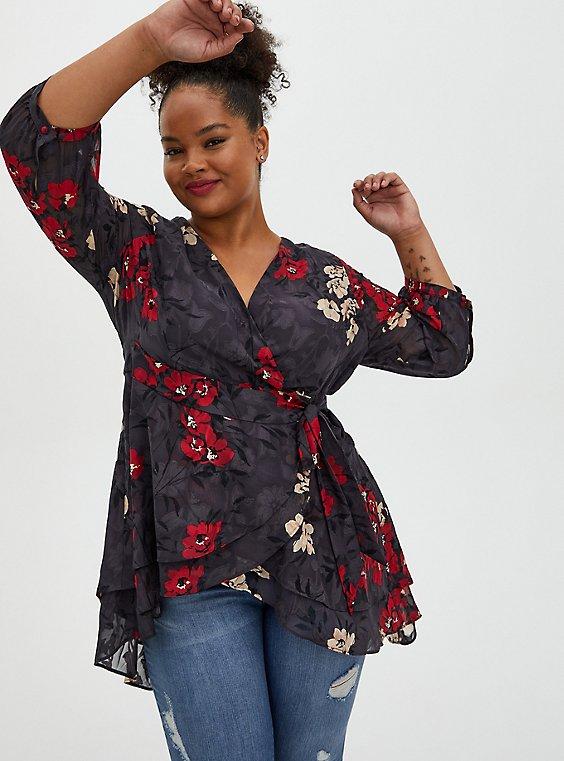Dark Slate Grey Clip Floral Hi-Lo Wrap Blouse, FLORAL - GREY, hi-res