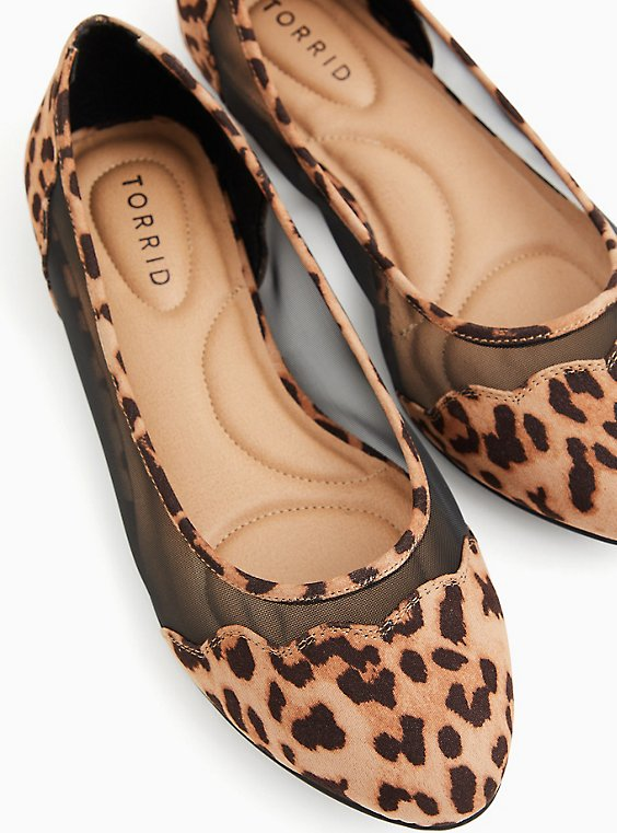 Leopard Faux Suede & Mesh Scalloped Flat (WW), , hi-res