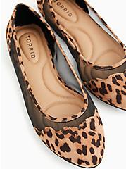 Leopard Faux Suede & Mesh Scalloped Flat (WW), ANIMAL, hi-res