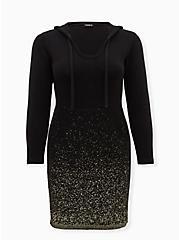 Black & Gold Ombre Hoodie Dress, BLACK GOLD, hi-res