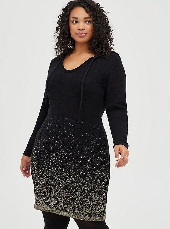 Black & Gold Ombre Hoodie Dress, , hi-res