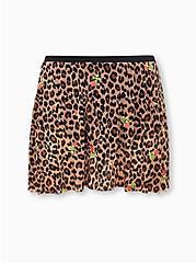 Betsey Johnson Leopard Floral Mesh High Waist Skater Swim Skirt, MULTI, hi-res