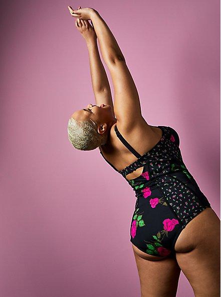 Betsey Johnson Rose Black Underwire One-Piece Swimsuit, MULTI, alternate