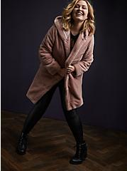 Mauve Pink Faux Fur Hooded Teddy Coat, FAWN, alternate