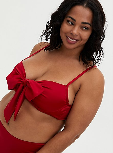 Red Satin Bow Unlined Underwire Longline Bralette, JESTER RED, hi-res
