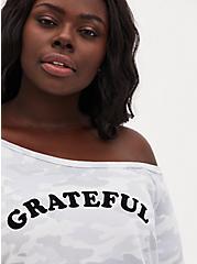 Grateful Light Gray Camo Terry Off Shoulder Sweatshirt, CAMO, alternate