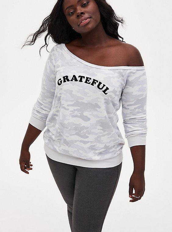 Grateful Light Gray Camo Terry Off Shoulder Sweatshirt, , hi-res