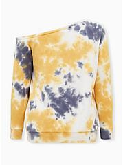 Plus Size Trust Your Soul Yellow & Grey Tie-Dye Terry Off Shoulder Sweatshirt, , alternate