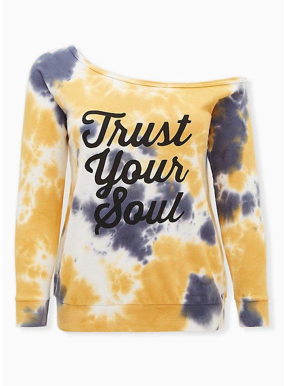 Plus Size Trust Your Soul Yellow & Grey Tie-Dye Terry Off Shoulder Sweatshirt, , hi-res