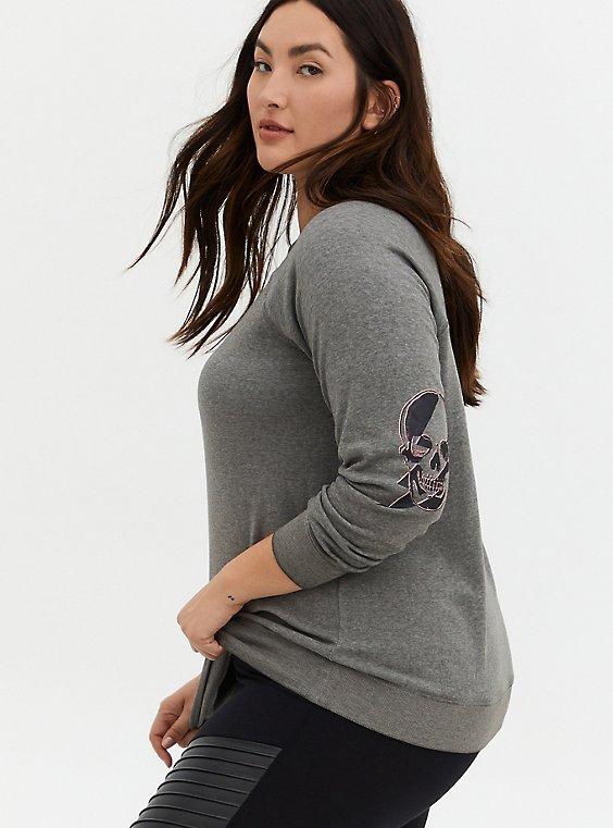 Heather Gray Skull Fleece Burnout Raglan Sweatshirt, , hi-res