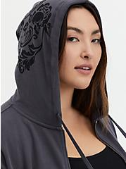 Dark Slate Grey Damask Skull Fleece Zip Hoodie, NINE IRON, alternate