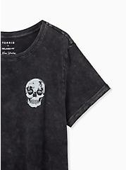Addicted Skull Relaxed Fit Crew Tee - Slub Mineral Wash Black, DEEP BLACK, alternate
