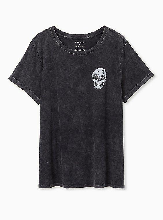 Addicted Skull Relaxed Fit Crew Tee - Slub Mineral Wash Black, DEEP BLACK, hi-res