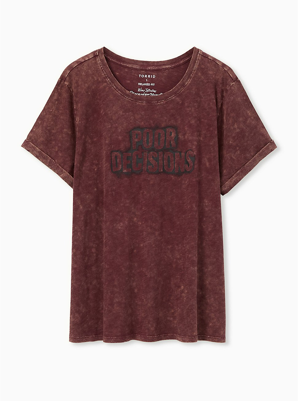 Poor Decisions Relaxed Fit Crew Tee - Slub Mineral Wash Burgundy Red, WINETASTING, hi-res