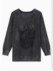 Black Mineral Wash Skull Raglan Fleece Sweatshirt, DEEP BLACK, hi-res