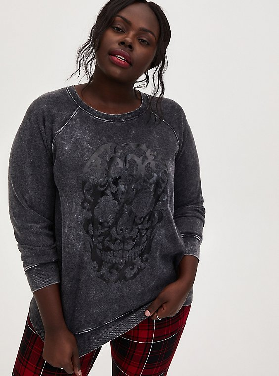 Black Mineral Wash Skull Raglan Fleece Sweatshirt, , hi-res