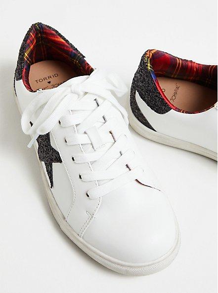 Betsey Johnson White Faux Leather Glitter Star Distressed Sneaker (WW), WHITE, alternate