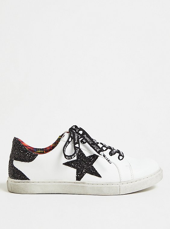 Betsey Johnson White Faux Leather Glitter Star Distressed Sneaker (WW), , hi-res
