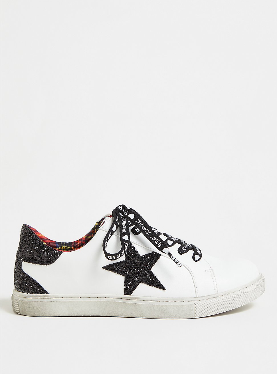 Betsey Johnson White Faux Leather Glitter Star Distressed Sneaker (WW), WHITE, hi-res