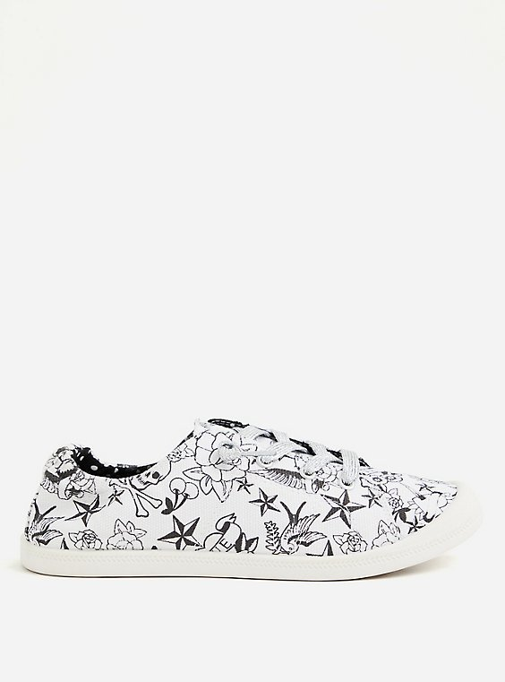 Betsey Johnson White Tattoo Ruched Sneaker, WHITE, hi-res