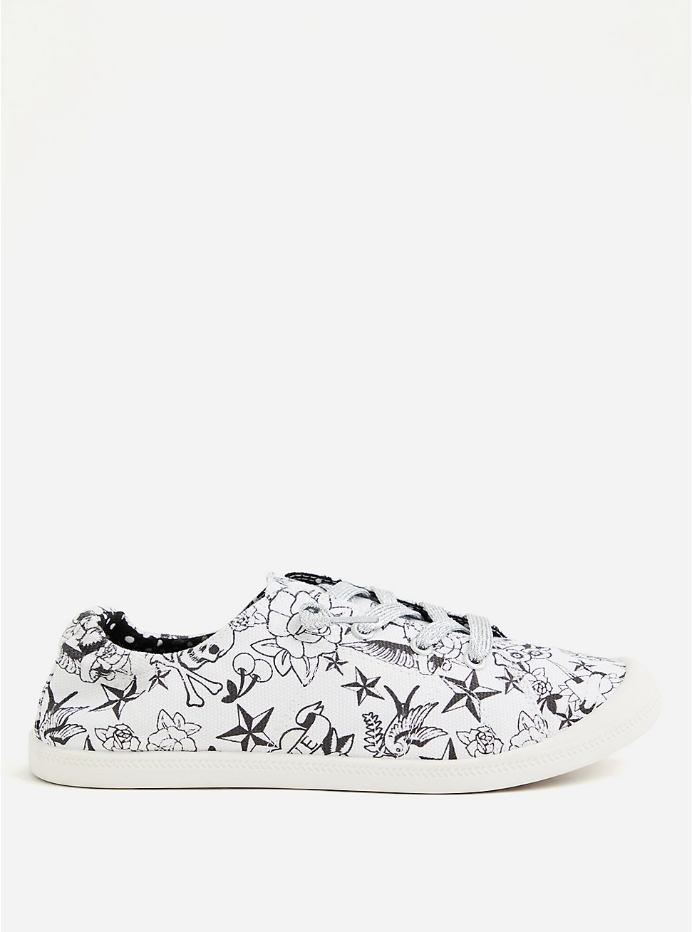 Betsey Johnson White Tattoo Ruched Sneaker (WW), WHITE, hi-res