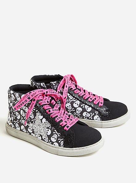 Betsey Johnson Black & White Skull Distressed High Top Sneaker (WW), BLACK, alternate