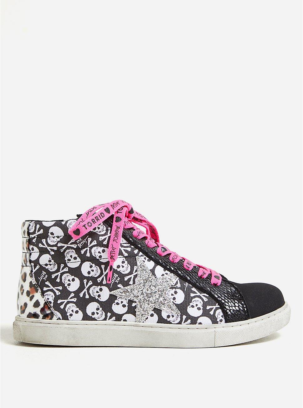 Betsey Johnson Black & White Skull Distressed High Top Sneaker (WW), BLACK, hi-res