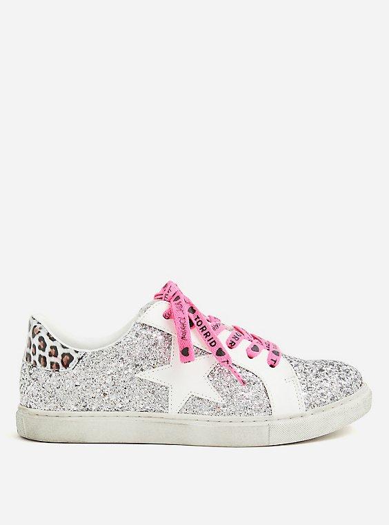 Plus Size Betsey Johnson Silver Glitter Distressed Sneaker (WW), , hi-res