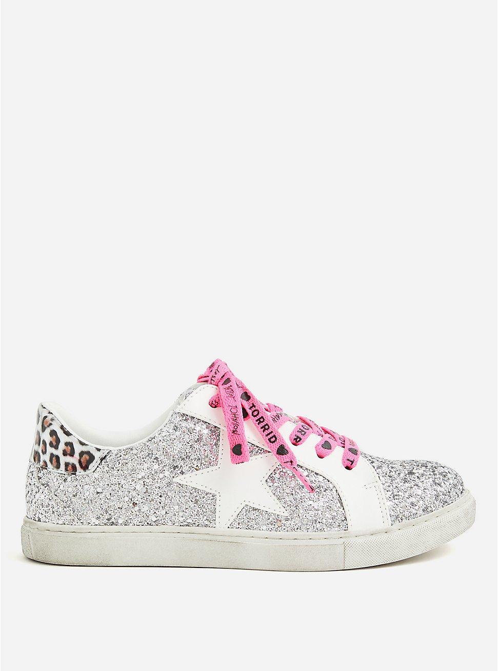 Plus Size Betsey Johnson Silver Glitter Distressed Sneaker (WW), SILVER, hi-res