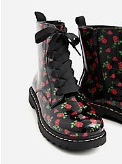 Betsey Johnson Black Floral Combat Bootie (WW), BLACK, alternate