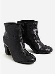 Betsey Johnson Black Sequin Block Heel Bootie (WW), BLACK, alternate