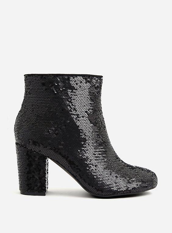 Betsey Johnson Black Sequin Block Heel Bootie (WW), , hi-res