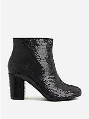 Betsey Johnson Black Sequin Block Heel Bootie (WW), BLACK, hi-res