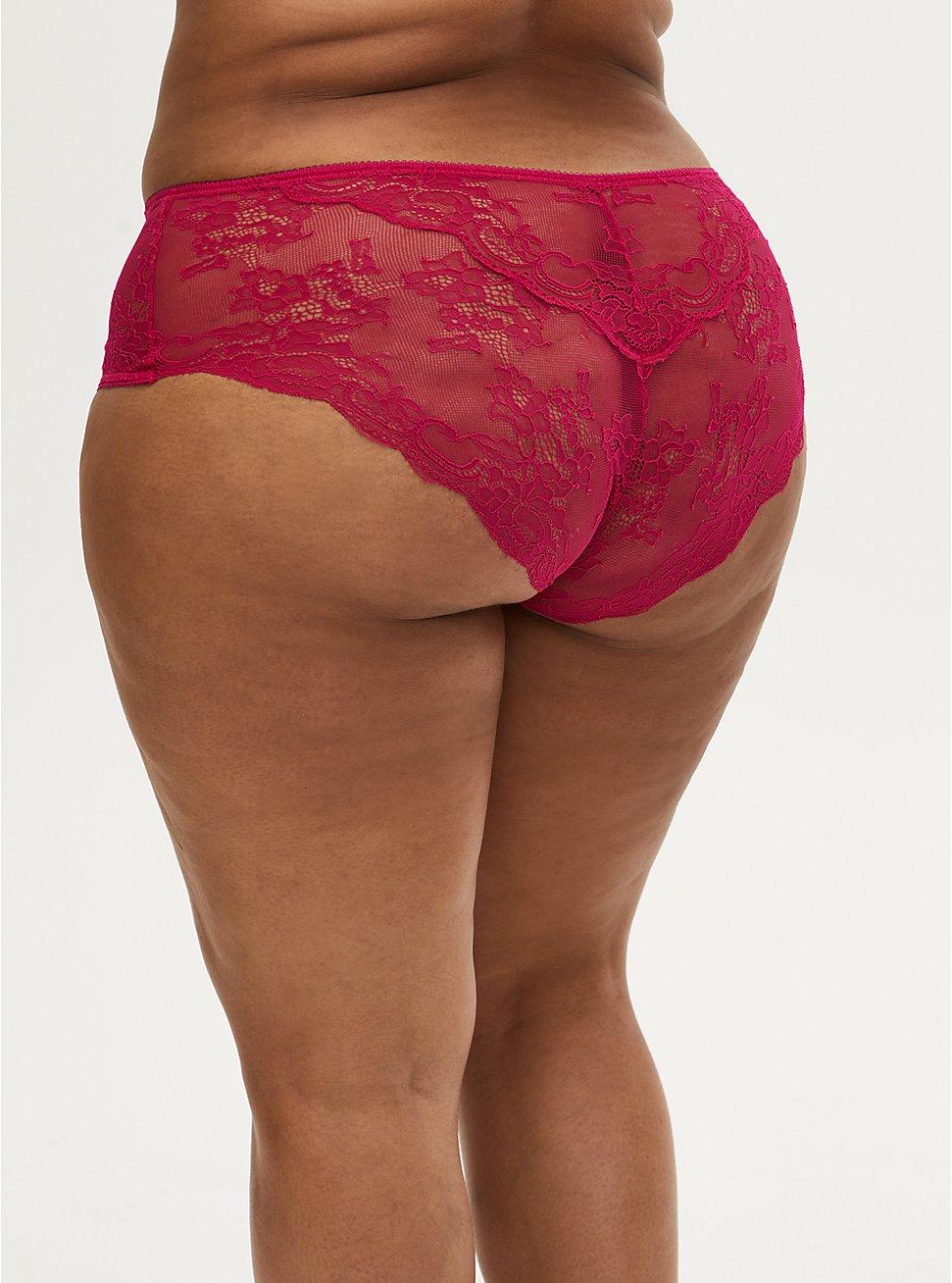 Raspberry Pink Microfiber & Lace back Hipster Panty , STRAWBERRY DAQUIRI, hi-res