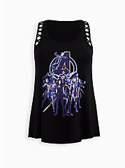 Marvel Avengers Super Soft Black Lattice Tank, DEEP BLACK, hi-res