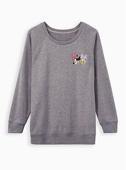 Disney Minnie & Daisy Heather Grey Fleece Sweatshirt , LIGHT HEATHER GREY, hi-res