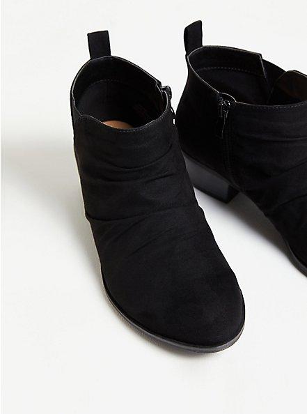 Plus Size Black Faux Suede Ruched Bootie (WW), BLACK, alternate