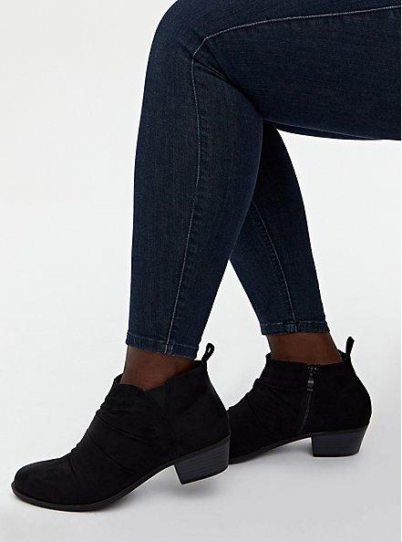 Plus Size Black Faux Suede Ruched Bootie (WW), BLACK, hi-res