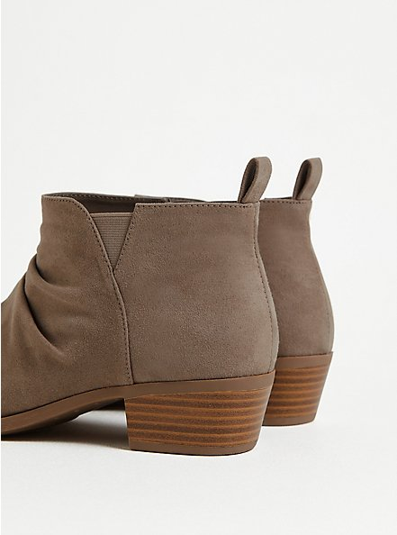 Taupe Faux Suede Ruched Bootie (WW), TAN/BEIGE, alternate