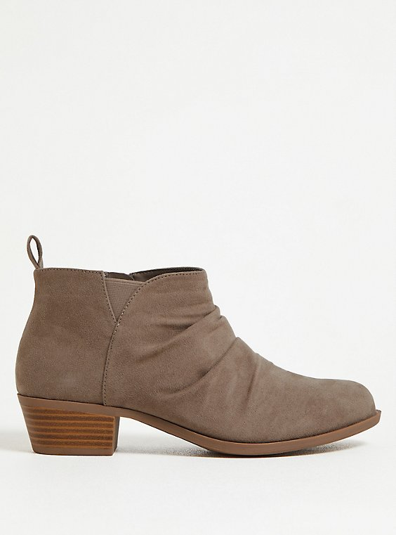 Taupe Faux Suede Ruched Bootie (WW), , hi-res