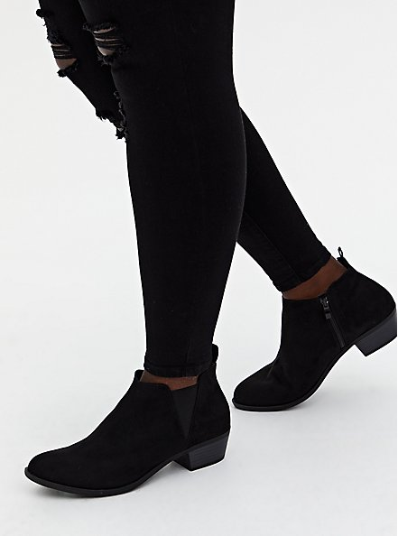 Black Faux Suede V-Gored Ankle Boot (WW), BLACK, alternate