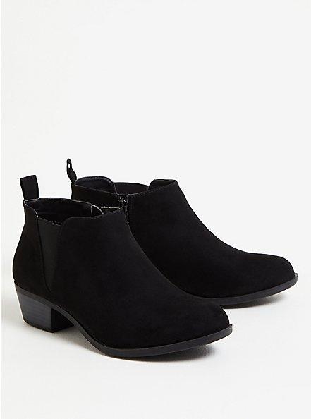 Black Faux Suede V-Gored Ankle Boot (WW), BLACK, hi-res
