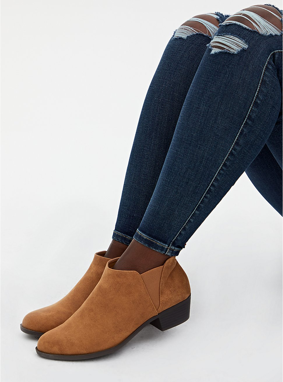 Light Brown Faux Suede V-Gored Ankle Boot (WW), BROWN, hi-res