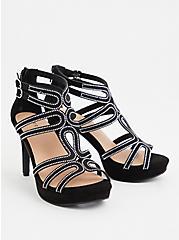Black Embellished Strappy Heel (WW), BLACK, hi-res