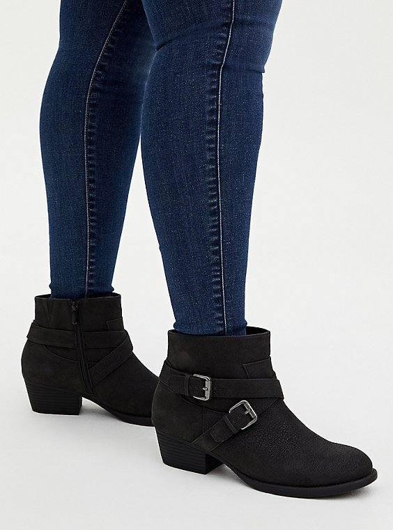 Black Oiled Faux Leather Dual Buckle Moto Bootie (WW), BLACK, hi-res