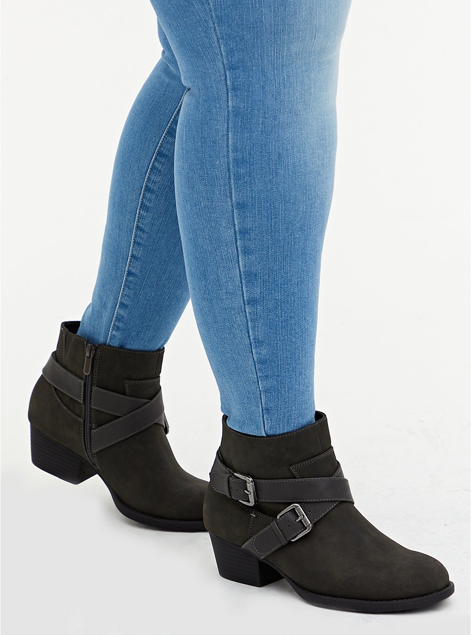 Grey Oiled Faux Leather Dual Buckle Moto Bootie (WW), GREY, hi-res